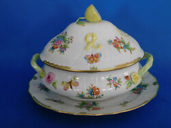 Herend Victoria 24 People Soup Tureen With Lemon Knob And Handles Plus Serving