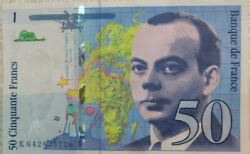 1x 50 French Banknote Cinquante Francs Remove From Circulation