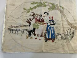 Vintage From switerland Linen Pillow Cover Hand Embroidered