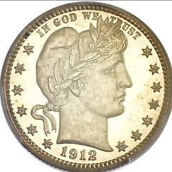 1912 Barber Quarter Pcgs Proof 66 W Gorgeous Toned And Mirrored Fields