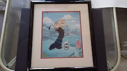 1998 King Features Popeye Teeing Off At Golf Lithograph Limited Edition