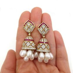 Seevideo Estate 3.05ct Diamond Ruby And Pearl Bollywood Earrings 18k Yellow Gold