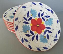 Pier 1 Portalegre 8 Hand Painted Dinner Plates Red Blue Yellow Floral Mint