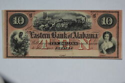 1850and039s Eastern Bank Of Alabama 10 Remainder Note Al 110-30 Choice Cu 0b1x