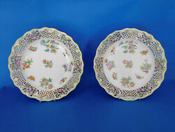 Herend Viktoria Traced Wall Plate Pair Porcelain