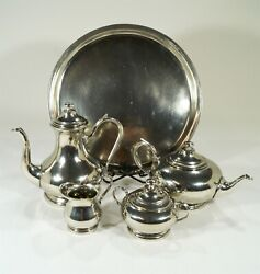 20th Century Etain 95 Made In Italy Pewter Coffee/tea Set Sugar Creamer And Tray