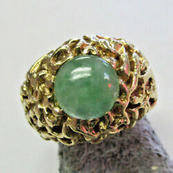 Heavy Duty 14k Gold Green Jadeite Jade Ring Size 8 For Him Or Her Make Offer