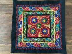 Stunning Vintage Hand Embroidered Pillow Cover Middle Eastern 18.5 X 18.5, Mb350