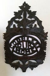 Antique Carved Wood Victorian Letter / Magazine Wall Rack Original Finish