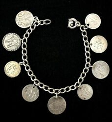 Antique Victorian Silver Love Token Bracelet Seated Liberty Dimes And Uk Coin