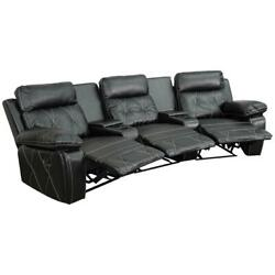 3-seat Reclining Black Leathersoft Theater Seating Unit With Curved Cup Holders