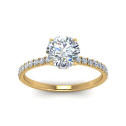 0.85 Ct Real Diamond Womenand039s Ring Hallmarked 14k Yellow Gold Band Size 6 7 8 9