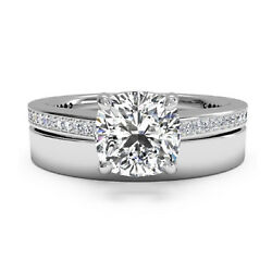 0.65 Ct Real Diamond Engagement Ring Set Solid 14k Solid White Gold Band Size M