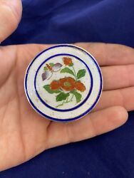 Rare Chinese Silver Enamel Incanse Box Red Flowers And Butterfly