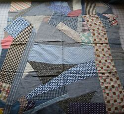 8830 Antique 1890-1920and039s Cotton Crazy Quilt Crib Top Thread Dyes Prints.