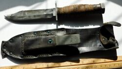 Ontario Pilot Survival Knife Vietnam Era And0391-1973and039 W/scabbard And Stone