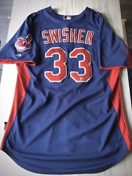 Nick Swisher Team-issued Cleveland Indians Majestic Bp Jersey, Autographed
