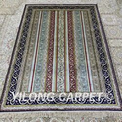 Yilong 4and039x6and039 Striped Pattern Handmade Silk Carpet Home Decor Area Rug H299b
