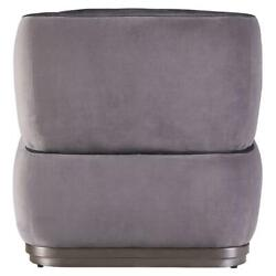 Acme Decapre Accent Chair In Antique Slate Top Grain Leather And Grey Velvet