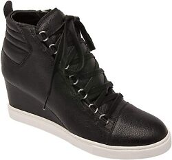 Linea Paolo - Fenton - Mid Height Leather Lace Up Sport Inspired Sneaker Wedge