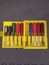 Xcelite Hs-6-18 Hallow Shaft Nut Driver 10pc Set Sae 3/16''- 9/16'' Made In Usa