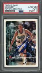 1999 Upper Deck 168 Mike Bibby Signed Card Psa/dna Encapsulated Grizzlies Auto
