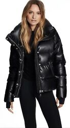 ⚡️SAM NY Isabel Vegan Leather Down Puffer Jacket MED Worn 2 Times VRY Acne Style $320.00