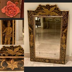 Antique Hand Painted European Mirror With Divided Mirror Panels And Rosettes