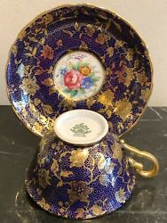 Vintage Tuscan Fine English Bone China Cobalt Blue And Gold Tea Cup And Saucer