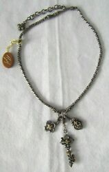 Barbara Bixby Sterling Silver And 18k Gold Flower Key And Lock Diamond Necklace 18