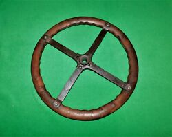 🔥vintage 1910and039s Rare Sprint Car Midget Indy 500 Leaf Spring Wood Steering Wheel