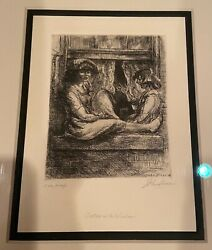 1923 John Sloan Etching, Sisters At The Widow.