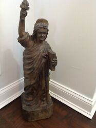 Beautiful 28 Early Vintage Folk Art Figure Hand Carved Wood Statue Of Liberty
