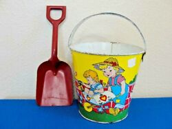 Vintage The Ohio Art Company Lithograph Toy Sand Pail W/red Shovel