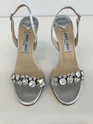 Jimmy Choo Silver Leather Crystal Shoes Lotus Size 7.5