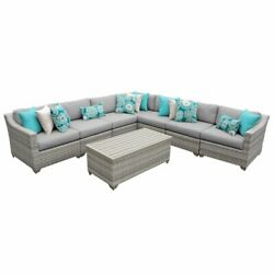 Tk Classics Fairmont 8 Piece Patio Wicker Sectional Set 08a In Gray