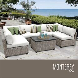 Tk Classics Monterey 7 Piece Patio Wicker Sectional Set 07a In White