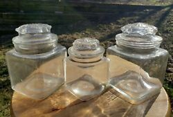 Lot Of 3 Glass Country Drug Store Counter Display Candy Jar Apothecary Jars Set