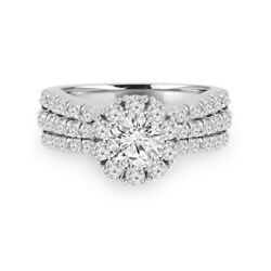 1.40 Carat Rond Real Diamond Engagement Ring Pour Femme 18k Blanc Or Taille M-q