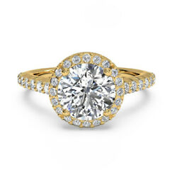 0.80 Carat Rond Coupe Real Diamond Engagement Ring 18k Or Jaune Taille M N O P Q
