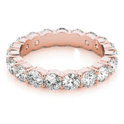 3.40 Ct Real Diamond Engagement Eternity Band 14k Solid Rose Gold Size 5 6.5 7 8
