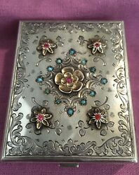 Vintage 800 Silver Italy Minaudiere Compact W/lipstick Holder Turquoise G