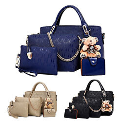4Pcs Set Women Faux Leather Handbag Shoulder Bag Crossbody Tote Messenger Purse $17.90