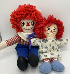 Vintage 12 Raggedy Andy And 9 Raggedy Ann By Applause Set Of 2 Dolls