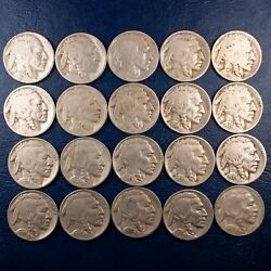 Half Roll Of 20 Buffalo Nickels G-f Condition, 1927-1937 D And S Mintmark 128