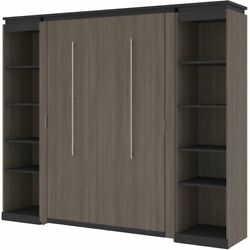 Bestar Orion 98 Full Murphy Bed With 2 Narrow Bookcases In Bark Gray