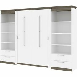 Bestar Orion 118 Full Murphy Bed And 2 Bookcases With Drawers In White