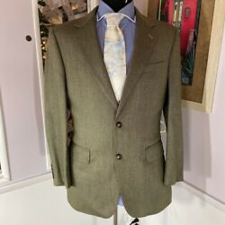 Jos. A. Bank Mens Two Button Suit Jacket Blazer Beige Green Houndstooth 38r