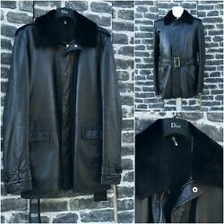 Ultrarare And Great Dior Homme Aw13 Removable Beaver Collar Leather Belted Jacket