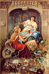 American Girls Flag Rochester Brewery Beer 1891 Vintage Poster Repro Free S/h